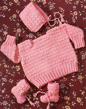 ADORABLE Pretty In Pink Baby Sweater Set/Crochet Pattern INSTRUCTIONS ONLY