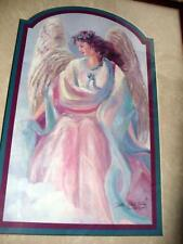 Bettie Hebert Felder Signed Angel Grace Print Wood Framed w Glass Art Painting