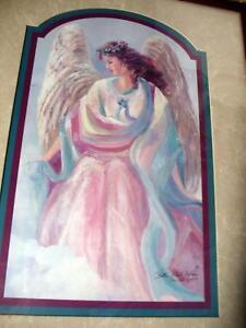 Bettie Hebert Felder Signed Angel Grace Print Wood Framed w Glass Art Painting