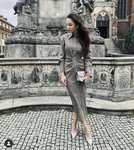 Zara Mink Shirt Dress Wool Blend Size Small RRP £59.99