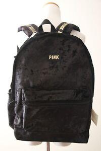 Victoria's Secret PINK Velvet Campus Backpack, Black 3754 27 47S OS