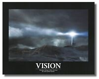 Motivational Vision Lighthouse,seashore & Lightning wall Art Print Picture