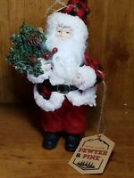 "Pewter And Pines 9"" Santa Clause Red Plaid Jingle Bell Hat Figurine Ornament"