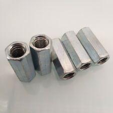 US Stock 5pcs M8 x 1.25 x 30mm Long Rod Coupling Hex Nut Connector Zinc Plated