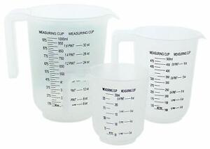 Set of 3 Plastic Measuring Jugs Stackable Baking Cooking 250ml 500ml 1000ml