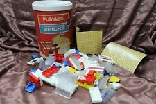 1970 Playskool Milton Bradley #525 Plastic Building Blocks Bricks in Canister #2