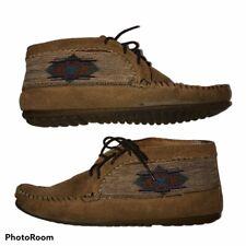 Minnetonka El Paso Moccasin Boots sz 9 Brown Thunderbird Tapestry