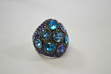 Lovely Statement Ring Lavender Teal Rhinestones Size 7