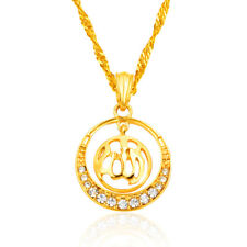 Allah 18K Gold Plated Women Islamic Religious Round Circle Pendant Jewelry