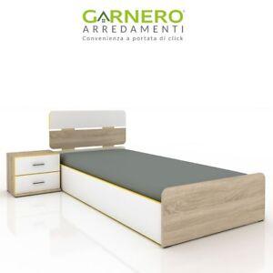Letto singolo contenitore comodino cassetti Pietro Gihome® rovere bianco moderno