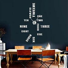 Letter Wall Clock Big 47 Inches 3D Stickers DIY Design Home Decoration Giant