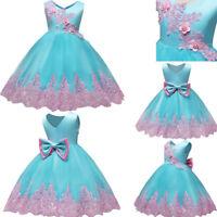 Kids Girls Dress Baby Toddler Princess Party Birthday Elegant Wedding Dress
