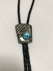 Vintage NAVAJO Sterling Silver NATURAL TURQUOISE Bolo Tie Leather Black