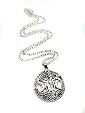 """Triple Moon Pendant Tree Of Life Pentacle Pagan Silver 18"""" Chain Necklace"""