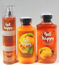 Bath Body Works GET HAPPY White Peach Sangria Mist Spray Lotion Gel 3 pc Set