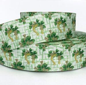 "GROSGRAIN RIBBON 5/8"", 7/8"",1.5"", 3"" St. Patrick's Day Clover Horseshoe Printed"