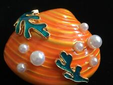 Scallop Seashell Shell Pin Brooch Jewelry Green Orange Pearl Coral Cockle Clam