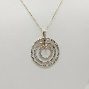 10k Yellow Gold Circle Diamond Pendant Necklace - Thin Rombo Chain 21""