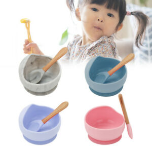 UK Baby Silicone Suction Bowl With Spoon Feeding Dinner Set for Baby and Toddler