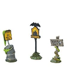 DEPT 56 SNOW VILLAGE HALLOWEEN SCARY WARNING SIGNS SET OF 3