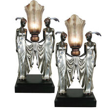 PAIR/TABLE LAMPS ART NOUVEAU/DECO H:52CM SILVER TWIN LADY FIGURINES RESIN SHADES