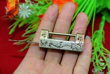Chinese Old Style Excellent Brass Carved Bird Flower Leaf Padlock Lock / Key