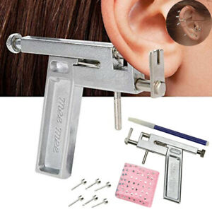 Professional Steel Ear Nose Navel Body Piercing Gun 98pcs Studs Tool Kit Set