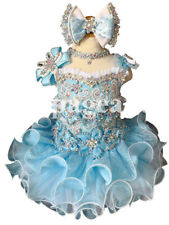 baby blue Infant/toddler/baby glitz Pageant Dress with hair bow 016b