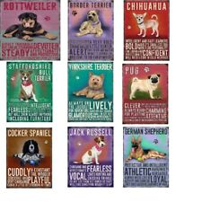 Vintage Style Metal Dog Breed Signs. 16 Different Breeds