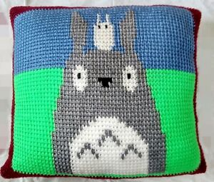 Crochet Front and back Totoro and Chibi-Totoro Cushion Pillow