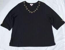 Quaker Factory 3XL Black Rhinestones V Neck Short Sleeve Shirt Women's Plus JC