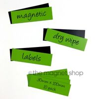 30mm x 100mm 10 x Magnetic Dry Wipe Label White Table vorgeschnitten