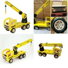 Pintoy Mobile Crane Childs Wooden Construction Vehicle Toy Working Crane Hook