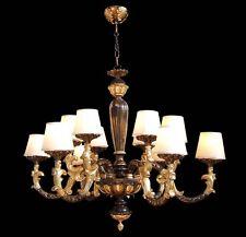 LAMPADARIO CLASSICO IN LEGNO FOGLIA ORO E MARRONE A 12 LUCI COLL. BGA 1610