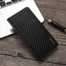 Carbon Fiber Black PU Leather Wallet Shockproof Flip Phone Case Cover For Snoy
