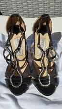 Jimmy Choo black satin high heels. Size 37 UK 4 - Note 2 diamante missing