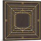 ARTCANVAS Art Deco Tan Squares Lines Design on Brown Canvas Art Print