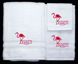 Pink Flamingo Embroidered Logo Personalized Bath Towel 3-Piece Set 100% Cotton