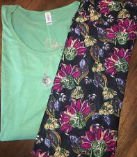 NEW LuLaRoe LLR Outfit:MEDIUM Modal Perfect T/Black Floral TC (12-24) Leggings