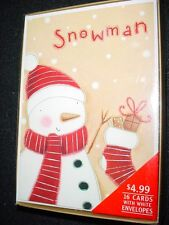 16 Boxed Christmas Cards W Envelopes Snowman w scarf winter