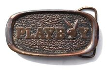 Vintage 1970's (Playboy & Rabbit Head) Brass Playboy Belt Buckle