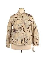 Alfred Dunner Women's Denim Jacket Size 18 Plus Size Button Front Tan Brown