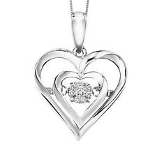 "Rhythm of Love Dancing Heart Diamond Pendant in Sterling with 18""chain"