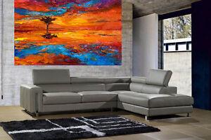 A0 SUPER SIZE CANVAS landscape art painting print tree river sunset
