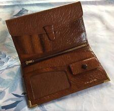 Vintage Mens Wallet Gents 50s Slim Envelope ID Money Tan Brown Leather Unused