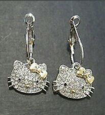 HELLO KITTY RHINESTONE GOLD BOW LEVERBACK DANGLE SILVER PLATED EARRINGS