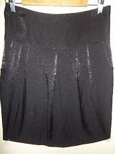 ERMIS WORLD black SKIRT size 12 / M black as new 65% cotton shimmer work casual