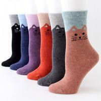 1/5 pairs Mongolia Cashmere woollen Cartoon Cat revers Women's Socks Hi-Q Wool