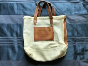 Ralph Lauren Small 13 inch Canvas Tote with Leather Proprietary Patch