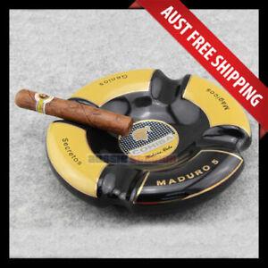 Cohiba Maduro 5 Ashtray - Black & Yellow, Round Ceramic 4 Cigar Ashtray